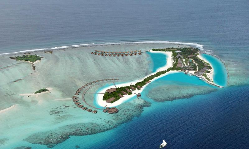 Pohled na jedno z rekreačních středisek z hydroplánu, běžného dopravního prostředku na Maledivách.