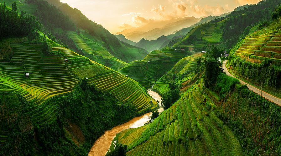 Hory a údolí v Mu Cang Chai ve Vietnamu patří k nejfotografovanějším místům země.